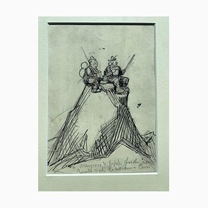 Gabriele Galantara - Pic Nic on Mountains Top - Pen and Pencil Drawing - 1908
