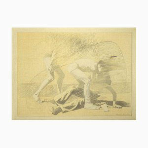 Unknown - the Fight - Original Pencil on Paper - 1974