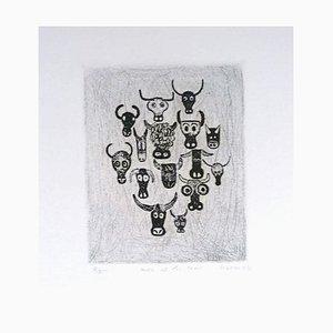 Unbekannt - Sonnenuntergang der Kühe - Original Radierung auf Papier Signiert Kokotovic - 1973