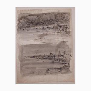 Rudolf Hausner - Landschaft - Originales Aquarell auf Papier - Mitte des 20. Jahrhunderts