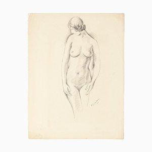 Pierre Guastalla - Nude - Original Pencil Drawing - Mid-20th Century
