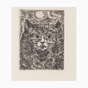 Gianpaolo Berto - the Cat - Original Etching on Paper - 1970s