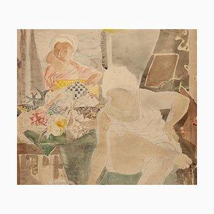 Gianpaolo Berto - Women - Original Mischtechnik Zeichnung auf Papier - 1960
