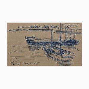 Helen Vogt - the Port of Tangier - Original Blue Pastel on Paper - 1950s