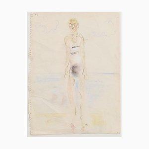 Unknown - Bather - Original Pastel on Paper - Mid-20th Century