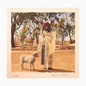 Lithographie sur Papier - Deanna Frosini - Shepherdess - Original 1990s