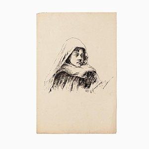 Unknown - Portrait - Original Lithograph - 1880s