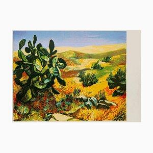 Renato Guttuso - Landscape - Original Screen Print - 1980s