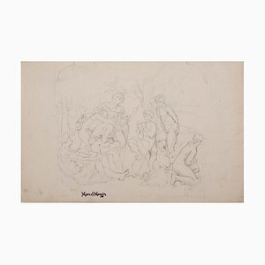 Marcel Mangin - Playing Fauna - Original Drawing in Pencil - Mid-20th Century