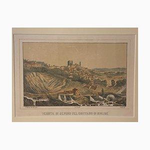 Girelli and Giuli - View of Sepino (Molise, Italy) - Lithograph - 19th Century