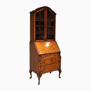 Sekretär / Bücherregal aus Nusswurzel im Queen Anne Stil