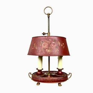 Early 20th French Antique Hand Painted Bouillotte Table Lamp