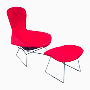 Mid-Century Lounge Chair and Ottoman by Harry Bertoia for Knoll International, Set of 2, 1960s