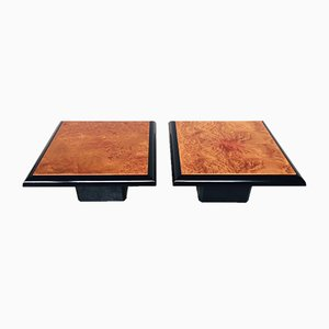 Modernist Italian Burl Wood Side Tables, 1980s, Set of 2