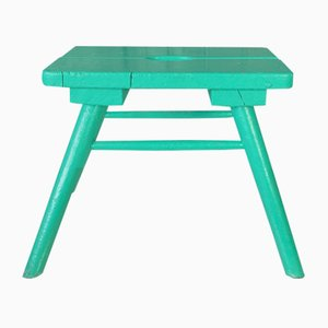 French Rustic Green Wooden Farm Stool, 1950s