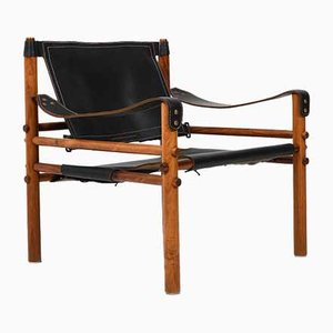 Rosewood and Black Leather Sirocco Armchair by Arne Norell for Arne Norell AB, 1964