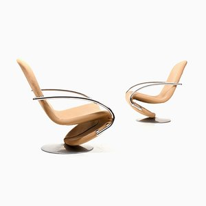 123 Swivel Lounge Chairs by Verner Panton for Fritz Hansen, 1970s, Set of 2