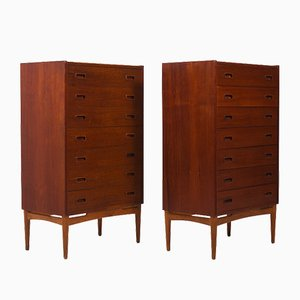 Tall Danish Teak and Oak Chest of Drawers, 1950s, Set of 2
