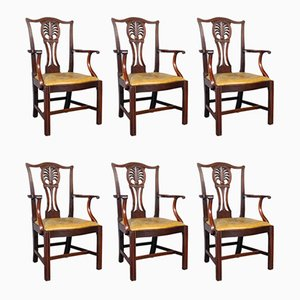 Antique Mahohany and Leather Dining Chairs, Set of 6
