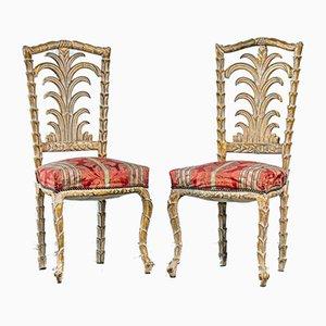 Rokoko Stühle in Palmen-Optik, 2er Set