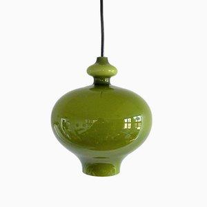 Lámpara colgante sueca Mid-Century de vidrio verde de Hans-Agne Jakobsson para Svera, años 60
