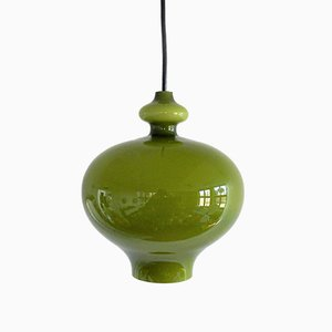 Mid-Century Swedish Green Glass Pendant Lamp by Hans-Agne Jakobsson for Svera, 1960s