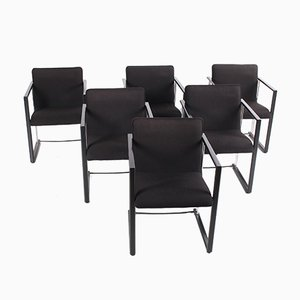 Italian Dining Chair in Metal and Black Fabric, 1970s