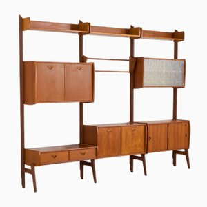 Scandinavian Three-Bay Wall Unit by John Texmon for Blindheim Møbelfabrik, 1960s