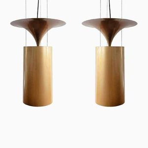 Large Vintage Gold-Colored Pendant Lamps from Indoor, 1980s, Set of 2