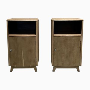 Blonde Oak Nightstands, 1960s, Set of 2