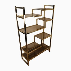 Gold, Metal and Glass Shelf, 1970s
