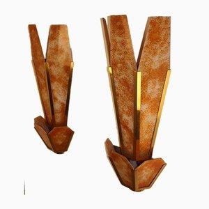 Goldene Messing Wandlampen, 1970er, 2er Set