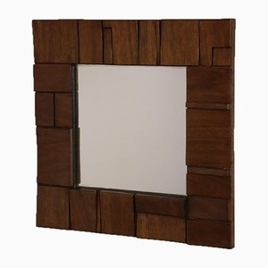 Burtalist Embossed Wooden Mirror, 1960s