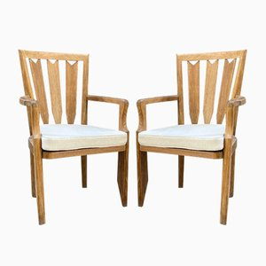 Large Oak Lounge Chairs by Guillerme et Chambron, Set of 2