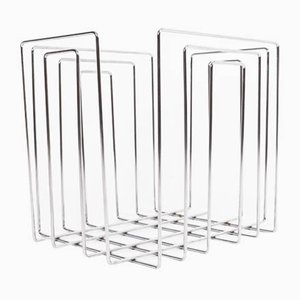 Vintage Chrome-Plated Magazine Rack in the of Style Willi Glaeser for TMP, 1980s