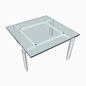 Danish Poul Kjaerholm Style Metal, Lucite & Glass Coffee Table, 1960s