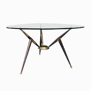Italian Gio Ponti Style Glass Coffee Table, 1950s