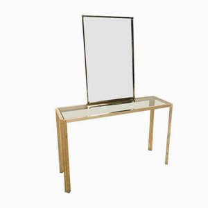 Hollywood Regency Console Table and Mirror, 1970s, Set of 2