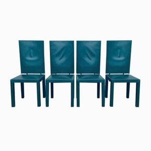 Green Leather High-Back Dining Chairs by Paolo Piva for B&B Italia / C&B Italia, 1980s, Set of 4