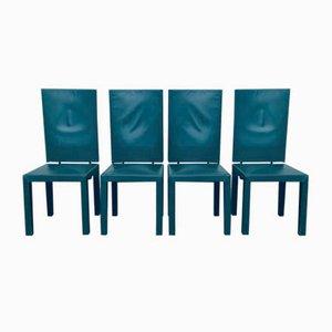 Grüne Leder Esszimmerstühle von Paolo Piva für B & B Italia / C & B Italia, 1980er, 4er Set