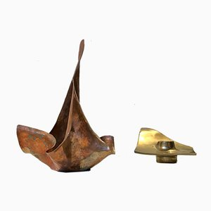 Scandinavian Candleholders in Copper and Bronze, 1960s, Set of 2