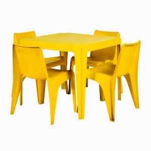 Gelber Mid-Century Gartentisch und 4 Stühle von Helmut Bätzner für Bofinger, 5er Set