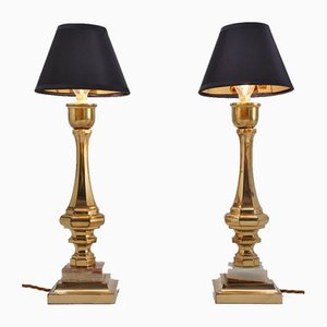 Vintage Bronze and Onyx Table Lamps, France, Set of 2
