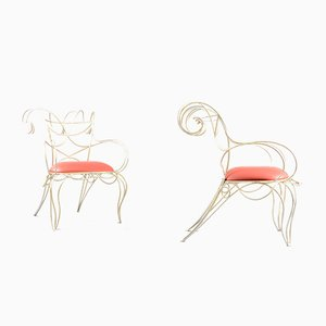 Vintage Sculptural Armchairs by Andre Dubreuil for Cecotti, Set of 2