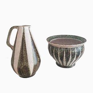 Vaso e vaso di Kurt Tschörner per Ruscha, anni '50, set di 2