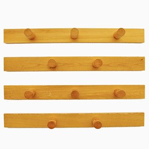French Pine Wood Coat Rack by Charlotte Perriand for Les Arcs, Set of 4