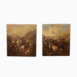 Battle Scene Oil on Canvas Paintings, 1600s, Set of 2