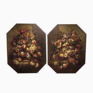 Pinturas al óleo sobre lienzo floral con loros, década de 1800. Juego de 2
