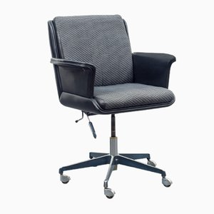 Leather & Fabric Desk Chair, 1960s