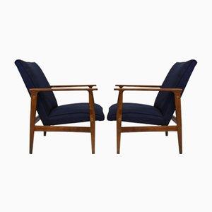 Scandinavian Dark Blue Armchairs, 1960s, Set of 2